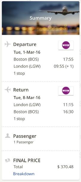 Boston to London