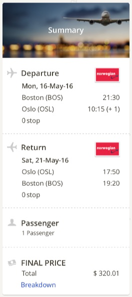 Boston to Oslo