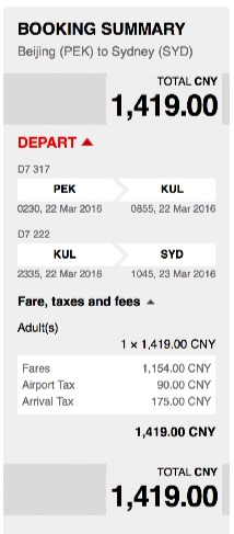Beijing to Sydney