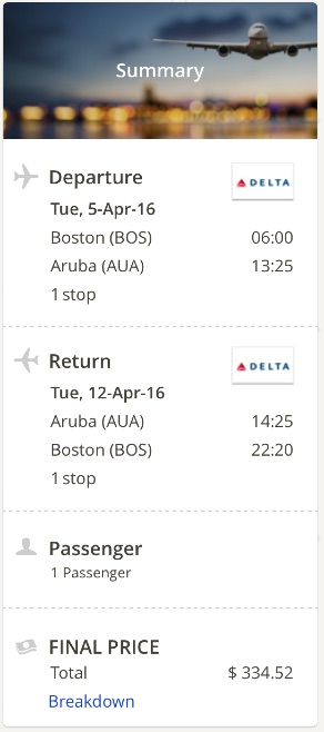 Boston to Aruba