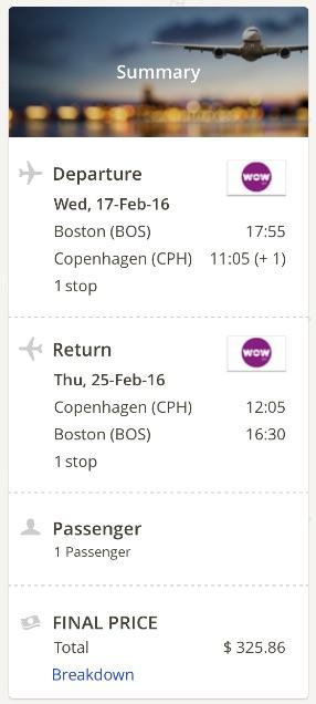 Boston to Copenhagen