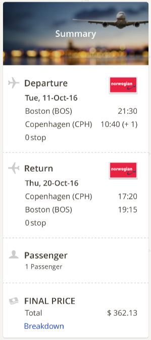 Boston to Copenhagen