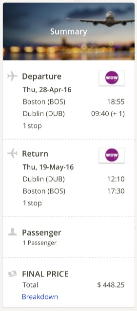 Boston to Dublin
