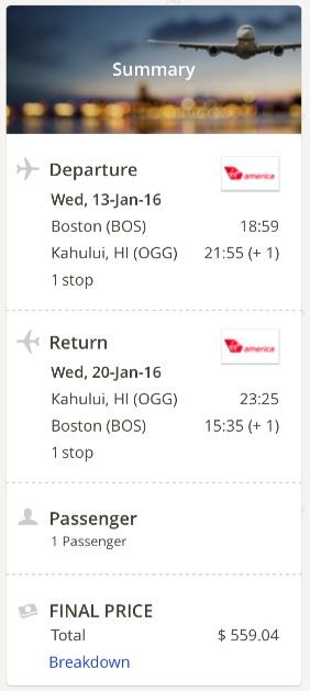 Boston to Kahului