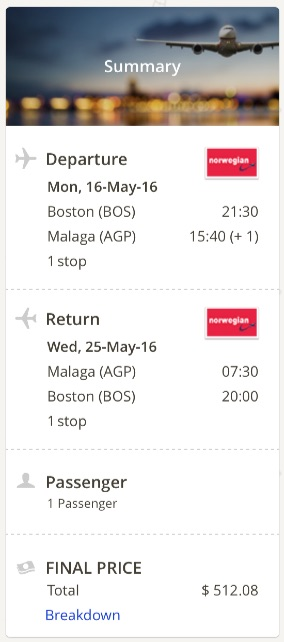 Boston to Malaga