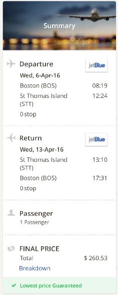 Boston to St. Thomas