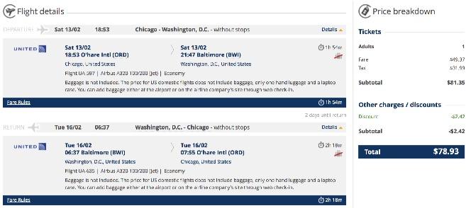 Chicago to Washington