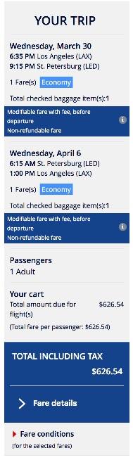 Los Angeles to Saint Petersburg