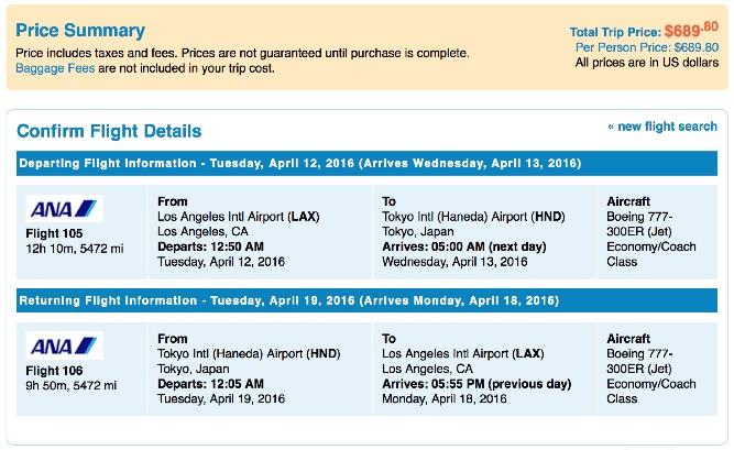 Los Angeles to Tokyo