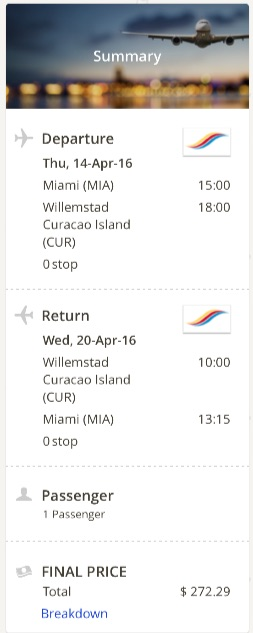 Miami to Curacao