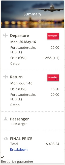 Miami to Oslo