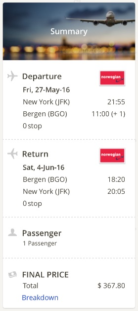 New York to Bergen