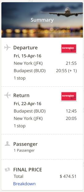 New York to Budapest
