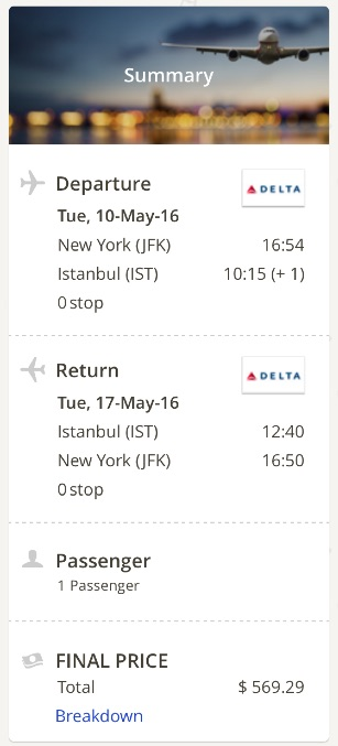 New York to Istanbul