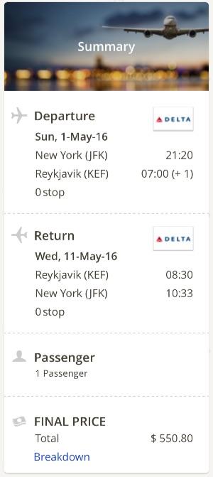 New York to Reykjavik
