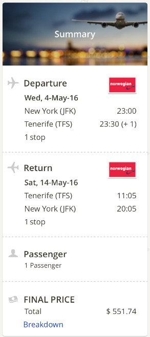 New York to Tenerife