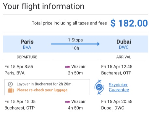 Paris to Dubai