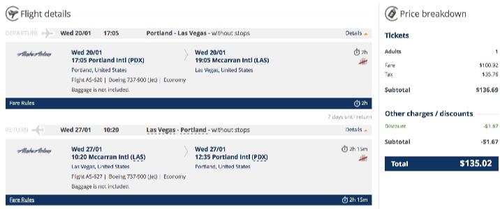 Portland to Las Vegas
