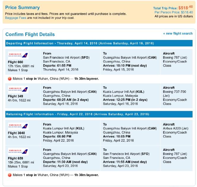 San Francisco to Kuala Lumpur