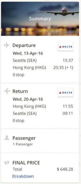 Seattle to Hong Kong
