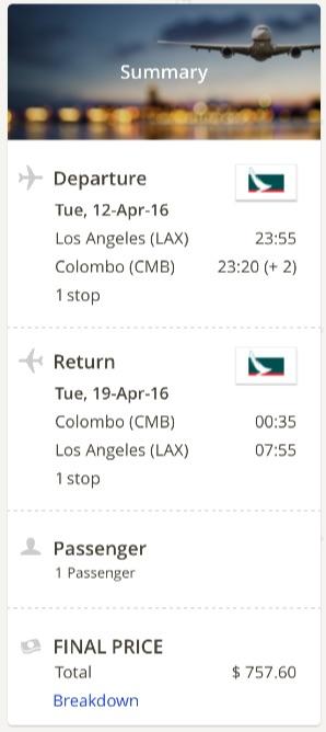 Los Angeles to Sri Lanka