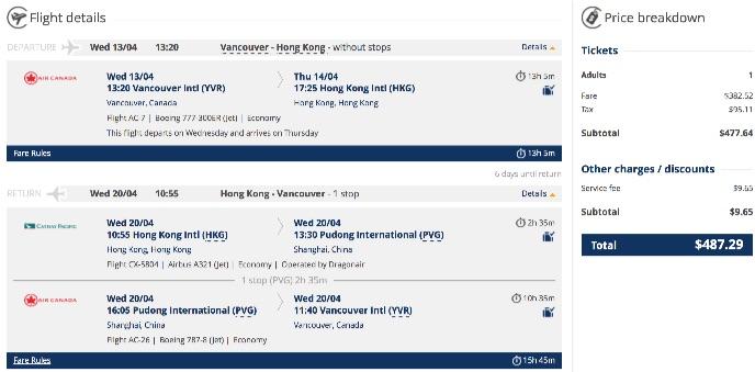 Vancouver to Hong Kong