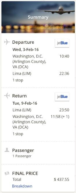 Washington to Lima, Peru