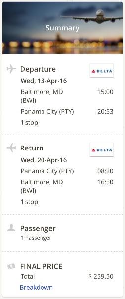 Washington to Panama