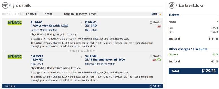 London to Riga, Latvia