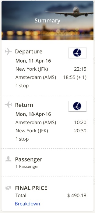 New York to Amsterdam