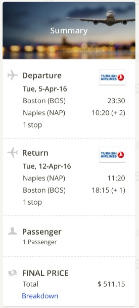 Boston to Naples