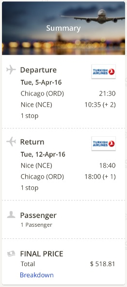 Chicago to Nice