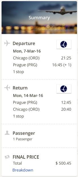 Chicago to Prague