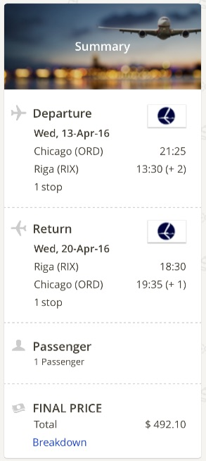 Chicago to Riga, Latvia