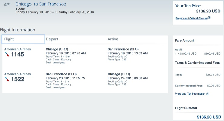 Chicago to San Francisco