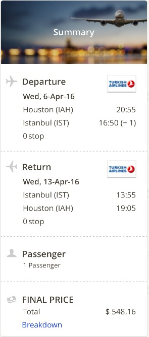 Houston to Istanbul, Turkey