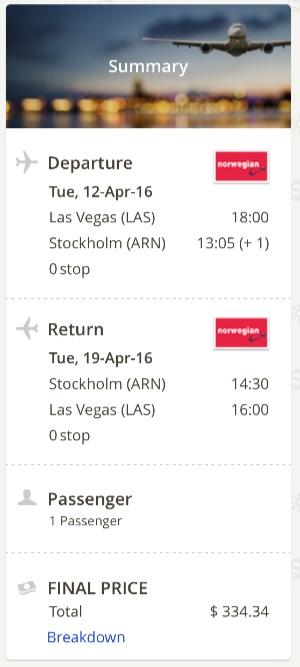 Las Vegas to Stockholm