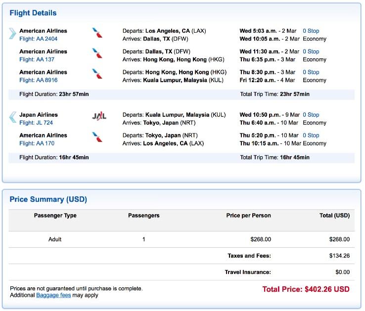 Los Angeles to Kuala Lumpur
