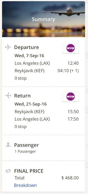 Lso Angeles to Reykjavik