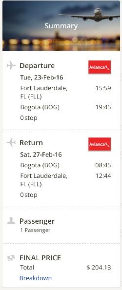 Miami to Bogota