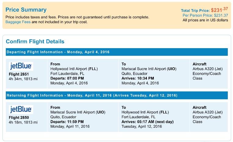 Miami to Quito, Ecuador
