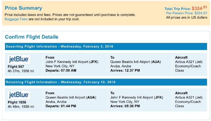 New York to Aruba