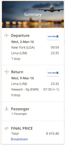 New York to Lima, Peru