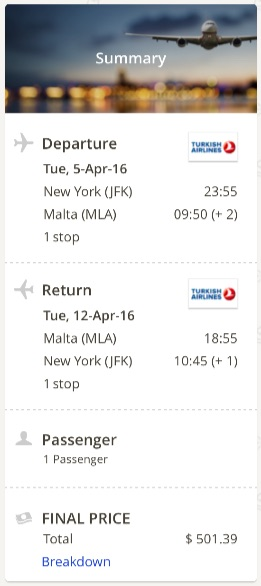 New York to Malta
