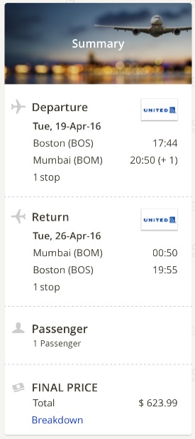 Boston to Mumbai
