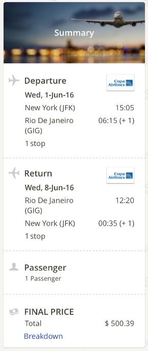 New York to Rio de Janeiro