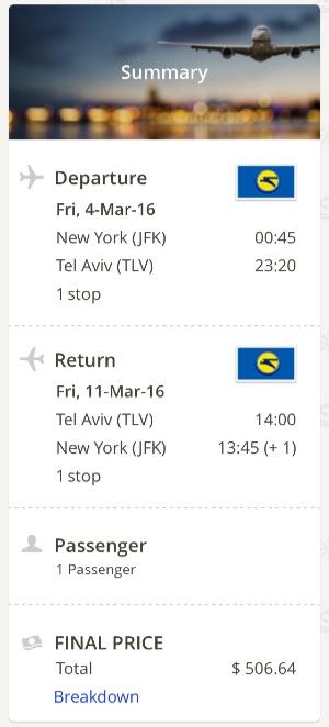 New York to Tel A Viv