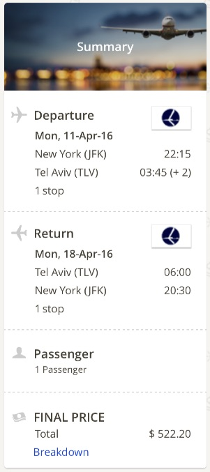 New York to Tel Aviv