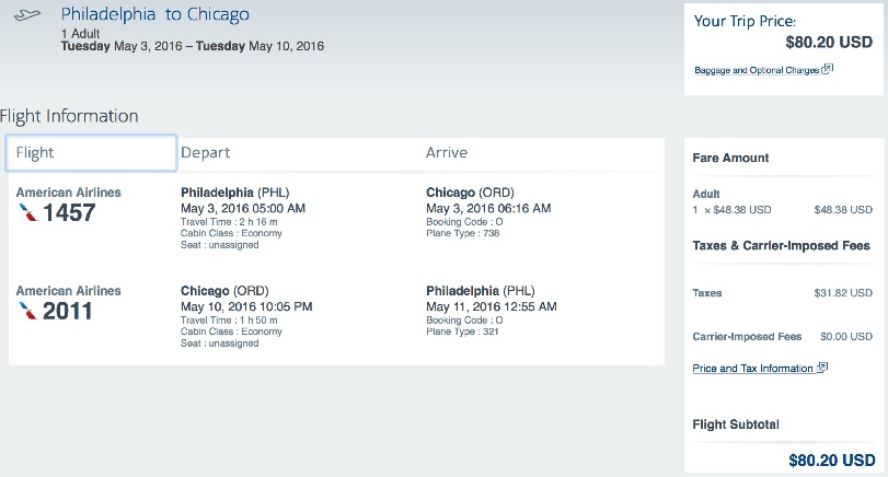 Philadelphia to Chicago