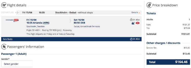 Stockholm to Dubai